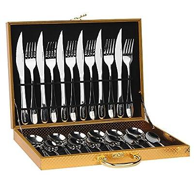 HUIRUI Flatware Sets, Stainless Steel Silverware Cutlery Set, 24pcs Kitchen Flatware Tableware Dinnerware Set Gift Box Package Utensil Set