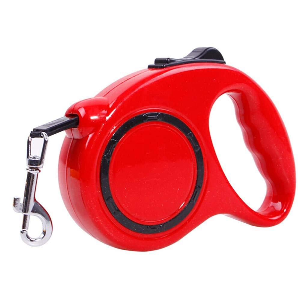 FANQIECHAODAN 5m Retractable Dog Leash for Small and Medium Pets,360°Tangle-Free,One-Handed Brake Pause Lock,Strong Reflective Nylon Tape Pet Training,Walking,Jogging (color   Red)