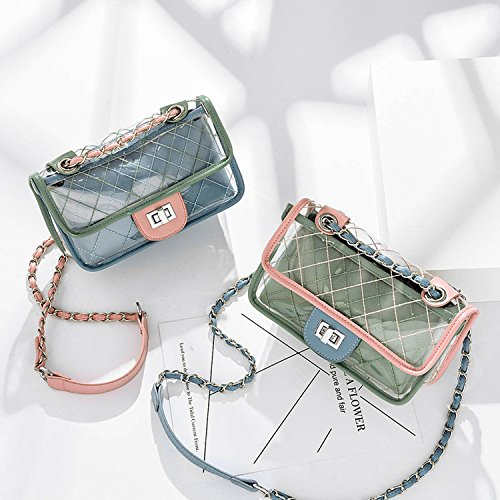 Messenger transparent Jelly bag 2018 bag bag casual chain shoulder female Blue summer plaid jelly Fashion PZZnEqHw4O