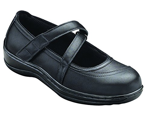Orthofeet Celina Women's Comfort Orthotic Wide Diabetic Arthritis Mary Jane Shoes Black Leather 7.5 M US by Orthofeet