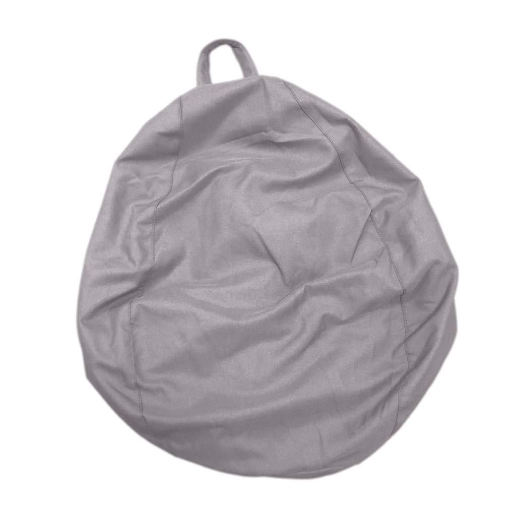 D DOLITY Bean Bag Chair Cover Bedding Clothes Stuffed Animal Toys Storage Bag - Gray