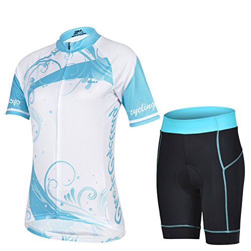 Koson-Man Women's Quick-Dry Short Sleeve Cycling Jersey 3D Padded Short Set Devil Style (Color LightBlue Size S)