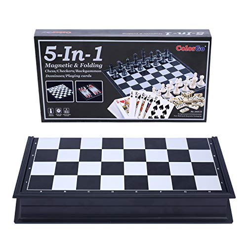 ColorGo 5 in 1 Magnetic Travel Checkers and Chess Set with Folding Board, Dominoes,Backgammon, Playing Cards for Kids and Adults