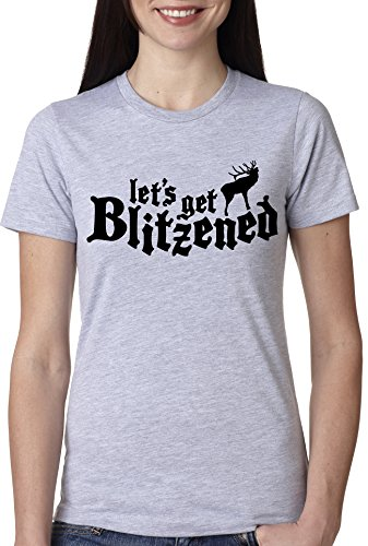 Crazy Dog TShirts - Women's Let's Get Blitzened T Shirt Funny Reindeer Christmas Drinking Tee - Camiseta Para Mujer
