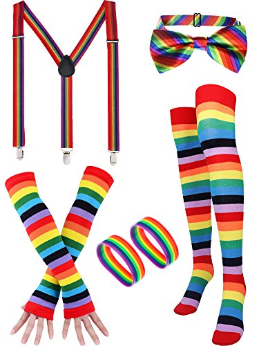Rainbow Accessories Set, Include Bow-tie, Suspenders, Socks, Gloves,