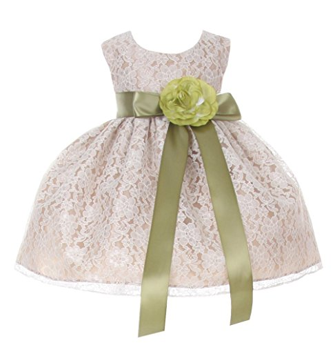 Olive Champagne - Cinderella Couture Baby-Girls Champagne Lace Dress Olive Sash & Flw 24M X 1132B
