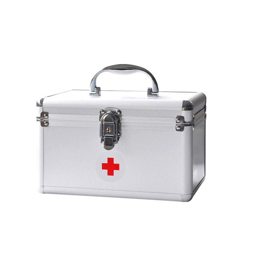Medicine box Aluminum Alloy Silver Standing Medicine Storage Box Portable Outpatient First Aid Kit HUXIUPING (Size : 10 inch)