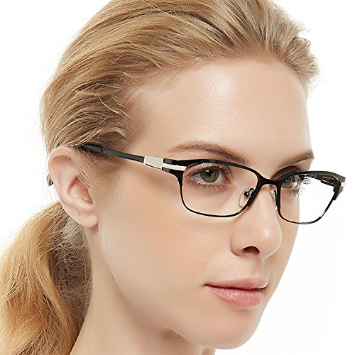 OCCI CHIARI Beatyfull Rectangular Designer Metal Eyeglasses Frames with Clear Lens Eyewear(Bright black+Gold) For Women ()