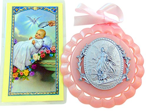 Baptism Holy Cards - Baptism Gift Set for Girls with Crib Medal and Holy Card Boxed