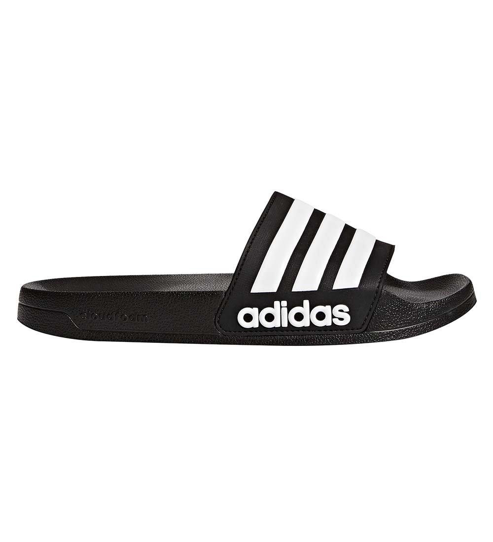 adidas Men's Adilette Shower Slide Sandal, Black/White/Black, 11 M US