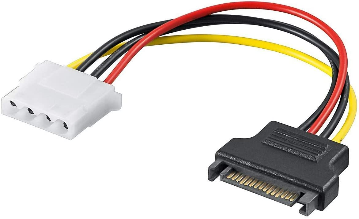 "16cm 4-pin Molex 6/"" Inch LP4 to Dual 15-pin SATA Power Splitter Y Cable Cord"
