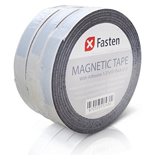 Self Adhesive Shelf Label Strips - XFasten Flexible Strong Self Adhesive Magnetic Tape Roll, 1/2-Inch x 10-Foot, Pack of 3, Stick on Magnetic Strips with Adhesive Backing