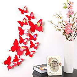 LEERYA Wall Stickers Decal Butterflies 3D Wall Art Home Decors White (Red)