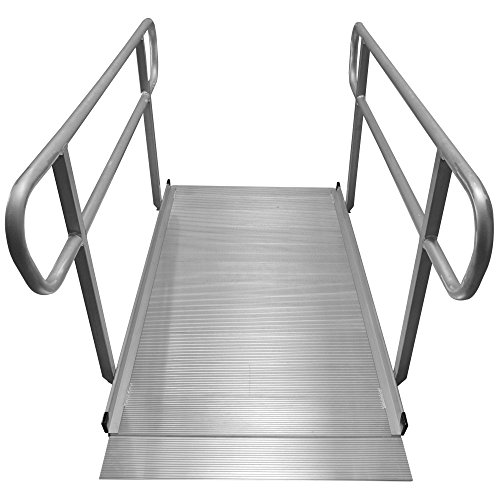 6' Aluminum Wheelchair Entry Ramp & Handrails Solid Surface Scooter Mobility Access