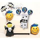10PCS Graduation Party Decorations with Jumping Grad Graduation Certificate Key to Success Grad Balloon Graduation Smiley Balloons