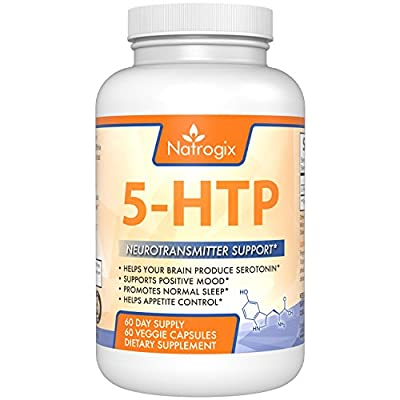 Natrogix 5-HTP 120mg (Veggie Capsules) - Supports for Time Release, Sleep Aids, Positive Mood, Stress Relief, Appetite Suppression