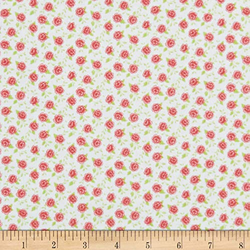 Wilmington Prints Fleurette Tiny Blossoms White/Red Fabric Fabric by the Yard