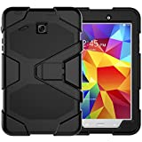 Azzsy Samsung Galaxy Tab E 8.0 Case(SM-T377),[Kickstand]Slim Heavy Duty Shockproof Rugged Cover Hard PC+Silicone Hybrid Impact Resistant Defender Full Body Protective Case with Screen Protector,Black