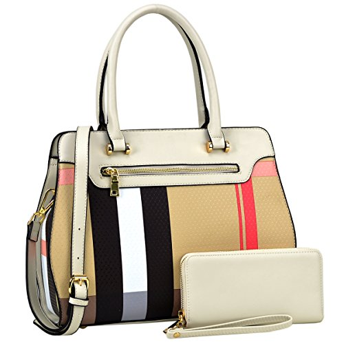 MMK Collection Most Popular and Classic 3-in-1/2-in-1 Plaid Style Medium Size Women Satchel with Free Matching Wallet(6341/8421) (2pcs-Beige-1953)