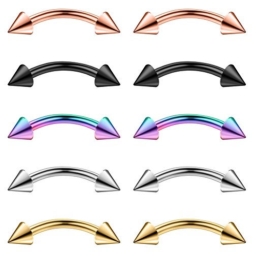 Ruifan 10PCS Assorted Colors Eyebrow Piercing Jewelry Curved Barbell with Spikes Kit Eyebrow Tragus Lip Ring 16g 16 Gauge 10mm