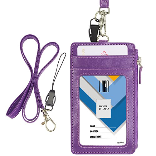 Badge Holder with Zip, Wisdompro 2-Sided Vertical Style PU Leather ID Badge Holder with 1 ID Window, 4 Card Slots, 1 Side Zipper Pocket and 1 Piece 20 Inch PU Neck Lanyard Strap - Purple