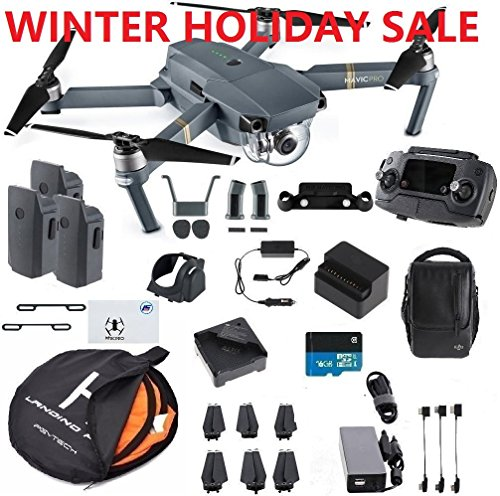 : DJI Mavic Pro Fly More Combo Safety Bundle, extra 80 cm Portable landing pad and TFStoys Lens Hood, Landing Gear and More