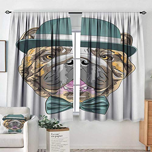 "Mozenou English Bulldog Room Darkening Curtains Dog in a Hat and Bow Tie Animal Design with Formal Attire Pure Breed Customized Curtains 63"" W x 72"" L Teal Brown Pink"