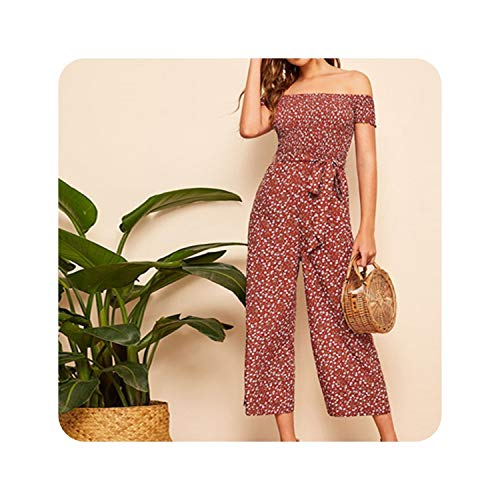 Boho Rust Shirred Bodice Belted Floral Bardot Jumpsuit Women Spring Elegant Off The Shoulder High Waist Maxi Jumpsuits,Rust,M