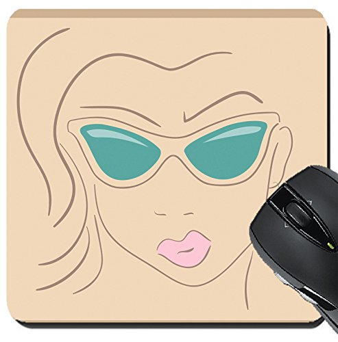 MSD Suqare Mousepad 8x8 Inch Mouse Pads/Mat design 30402058 Hand drawn woman face wearing - Find Your Face Glasses For