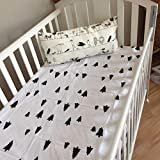 Highdas Cartoon Printed Cotton Infant Baby Kids Quilt Sheets Multifunction Bedclothes (Black & White Forest)