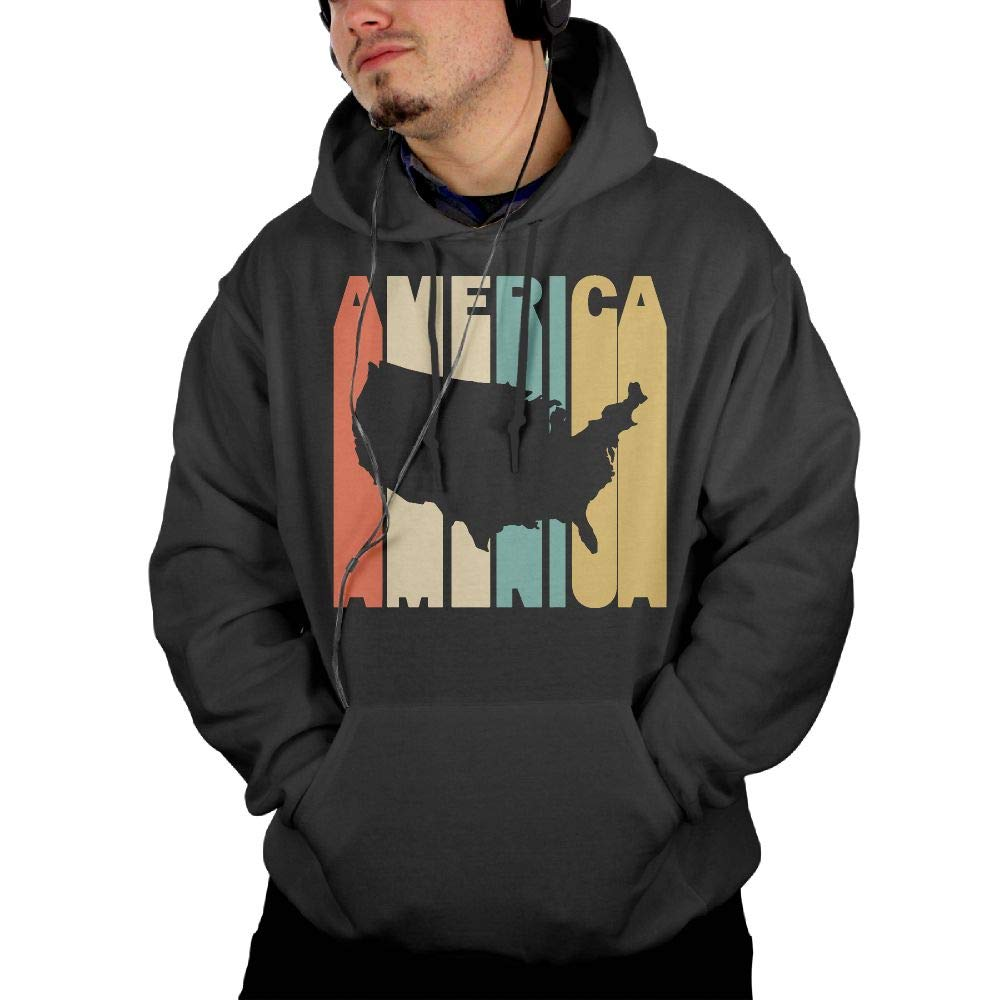 Winter 100/% Cotton Fleece Hoodie with Pocket for Men Mens Retro Style America Silhouette Pullover Hoodie