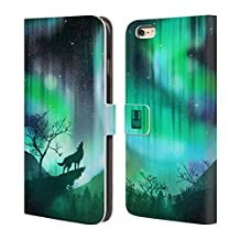 Head Case Designs Green Howling Wolf Northern Lights Leather Book Wallet Case Cover For Apple iPhone 4 / 4S
