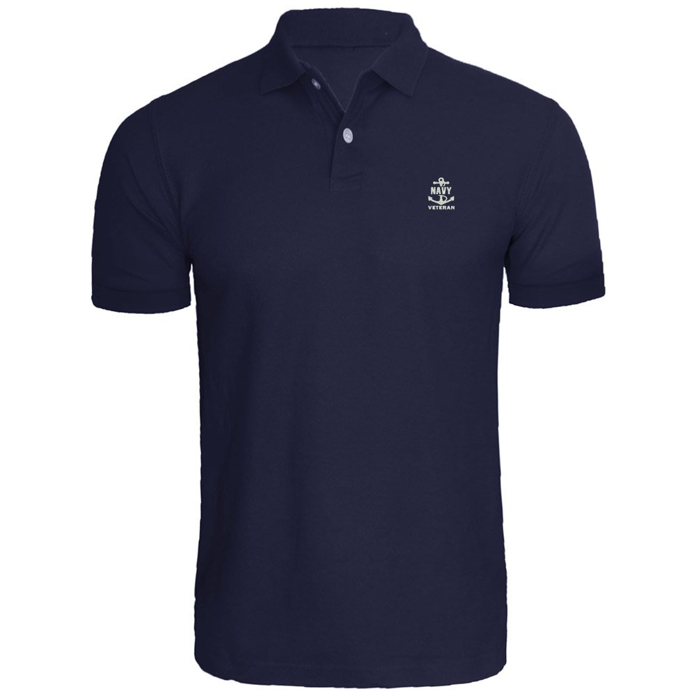 Mens US Navy Veteran Embroidery Embroidered Polo Shirts