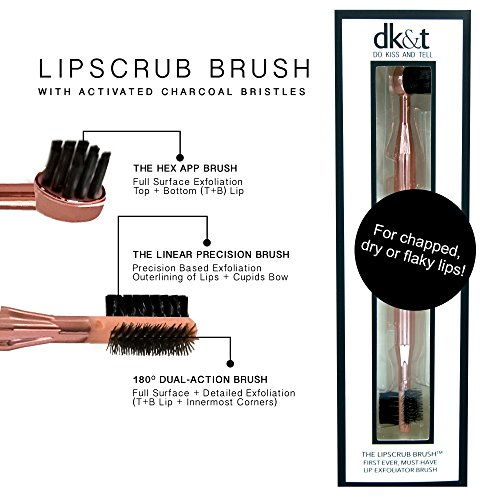 Lip Scrub Brush 3-in-1 Exfoliator Beauty Tool, Organic Activated Charcoal Anti Bacterial, Anti Viral, BPA, Cruelty, Dye & Petroleum Free, Vegan Friendly Turn Chapped & Flaky to Plump Lips #DontBeFlaky by Do Kiss And Tell (Image #1)
