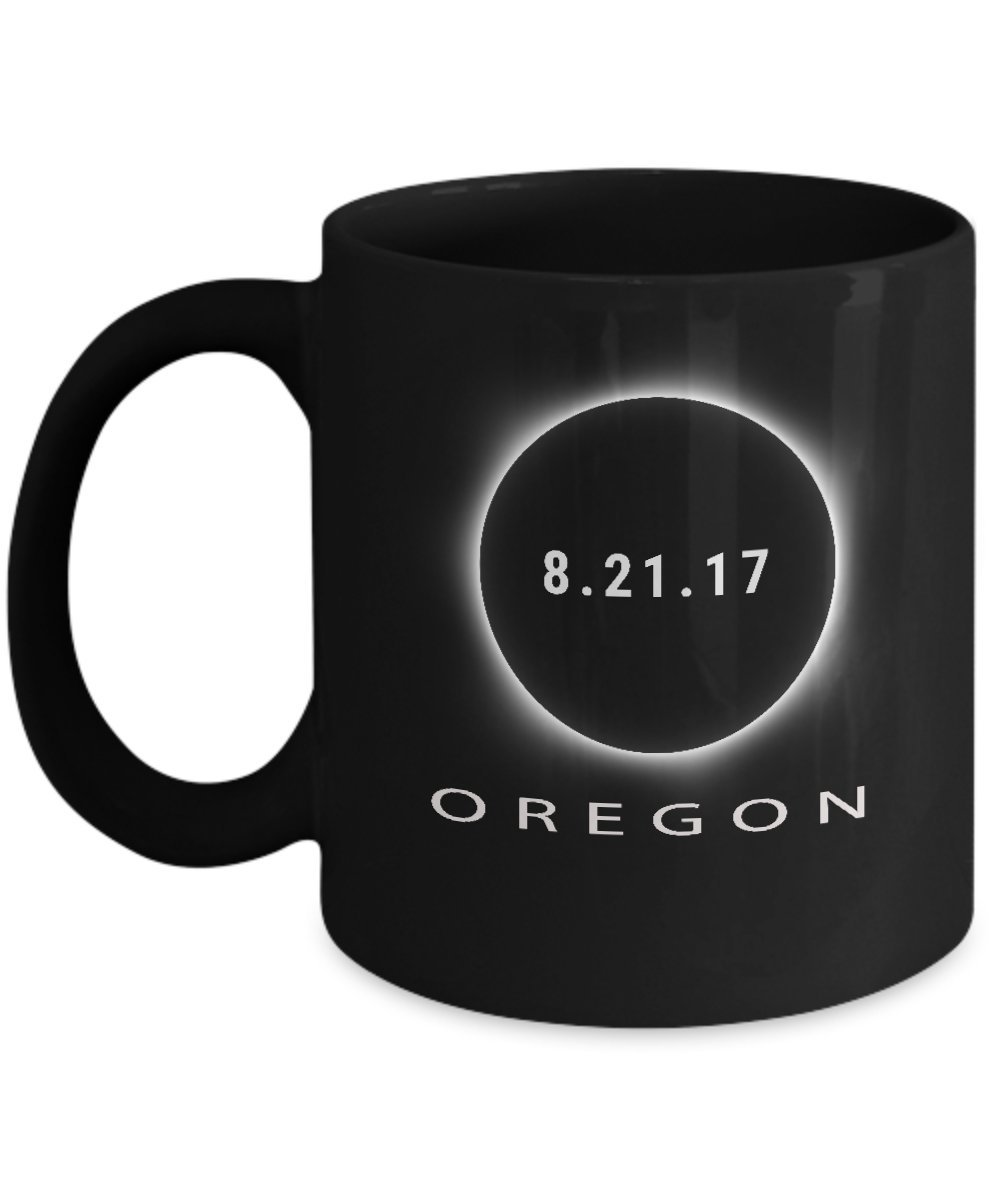 Oregon Solar Eclipse Coffee Mug - Cool 11oz Black Ceramic Tea Cup To Commemorate The August 21 2017 USA Eclipse. Science & Astronomy Astrology Gifts. Set of 1.