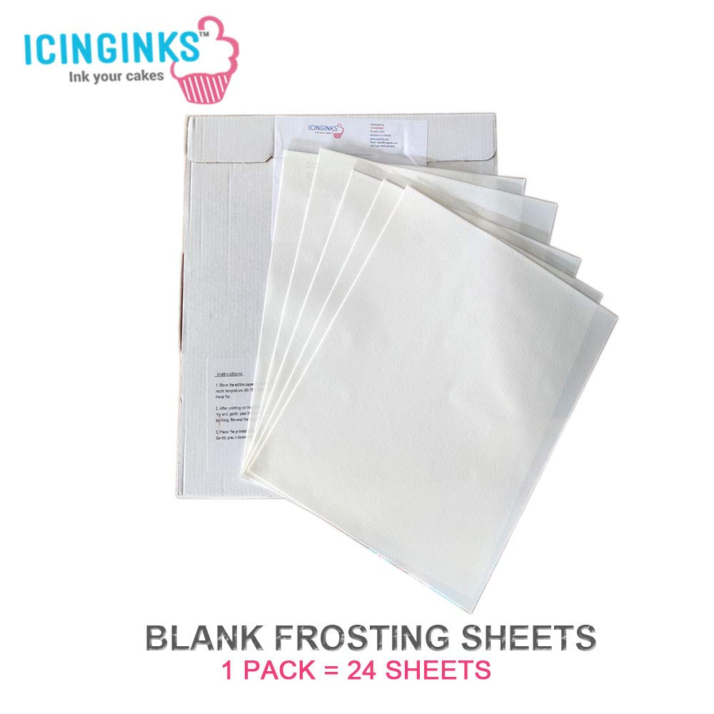 Icinginks 24 Frosting Sheets 8.5'' X 11'', Icing Sheets for Cake Toppers, Cookies & Décor, A4 Very White Edible Paper, Cake Edible Paper for Birthdays, Parties, Edible Sugar Sheets for Printers by Icinginks