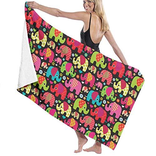 ZTAMORYWW Colorful Elephant Parade Bath Towel Beach Towel Use for Sports Travel Yoga Swimming 3.15X15.75 Inch