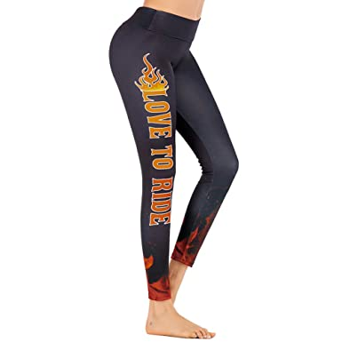 1adc09964b606 Glomixs Women's yoga pants Flame Printed Running Sweatpants Pilates Dancing Fitness  Leggings Black