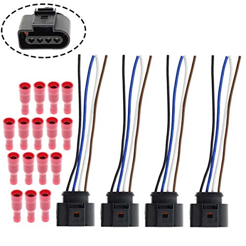 MOTOALL Ignition Coil, Coil Pack Replacement Connector - Harness Wire Lead - Set of 4 - Fits VW, Volkswagen & Audi 1.8T, 2.0T, 2.5L, 3.2L, 4.2L Vehicles