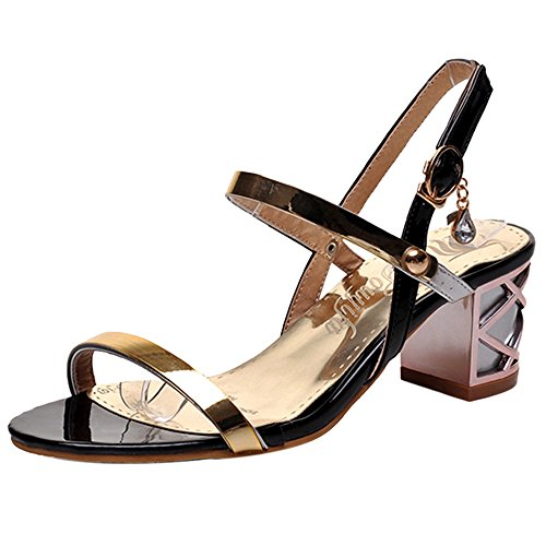 Block Open Fashion Heel Sandals Women TAOFFEN Shoes Summer Black Toe 5EPqXwxv