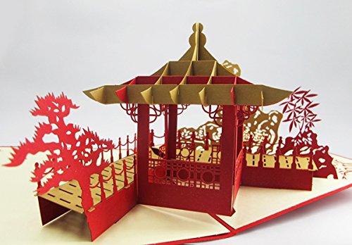 Quirky Chiness Pavilion regali Cards stampa Business logo personalizzato a mano cinese Pavilion 3D Pop Up biglietti di auguri