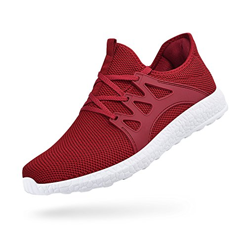 Troadlop Womens Sports Running Shoes Air Knitted Lightweight Fashion Sneakers, red 2-5.5 US