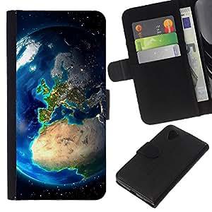 Stuss Case / Funda Carcasa PU de Cuero - Planeta Tierra desde el espacio - LG Nexus 5 D820 D821
