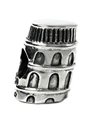 Sterling Silver Italy Leaning Tower Of Pisa Building Travel Bead For European Chamilia Biagi Troll Pandora Charm Bracelets