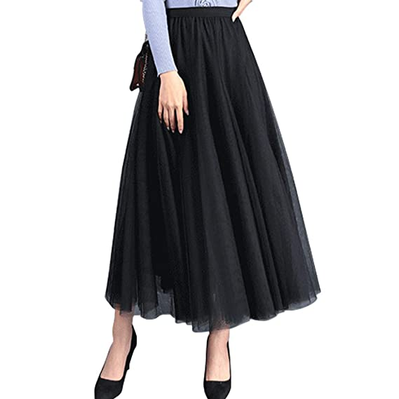 FEOYA Falda de Gasa para Mujer, Lisa, elástica, de Cintura Alta ...