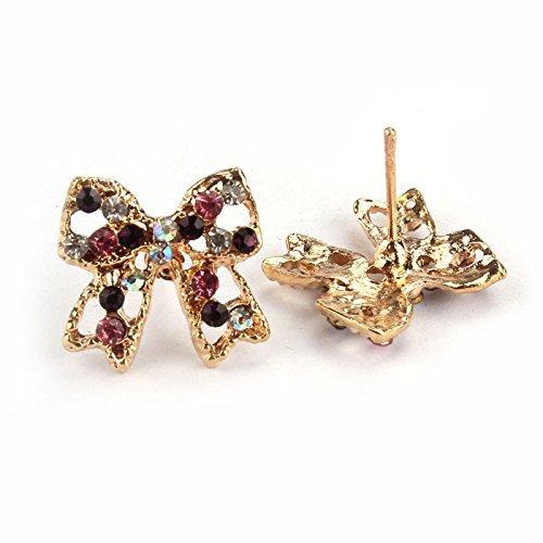 19-Yiruculture Womens Fashion Earring Women Lady Earrings Party Gift Colorful Rhinestone Bowknot Ear Stud