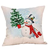 Happy Newyear Christmas Pgojuni Throw Pillow Cases Cushion Cover Flax Pillow Cover 1pc 45cmx45cm (D)
