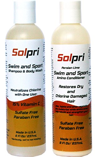 Solpri Swimmer's Anti Chlorine Shampoo Body Wash & Conditioner with Vitamin C set 8 Fl. Oz. Each (16 Fl Oz Total)