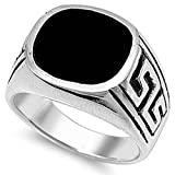 Sterling Silver Simulated Black Onyx Mens Signet Ring Sizes 9-11
