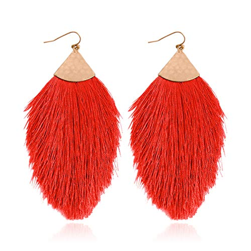 Antique Bohemian Silky Thread Fan Tassel Statement Drop - Vintage Gold Feather Shape Strand Fringe Lightweight Hook/Acetate Dangles Earrings/Long Chain Necklace (Earrings Feather Fringe - Red) (Shell Jewelry Red)